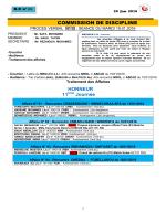 COMMISSION DE DISCIPLINE HONNEUR 11 Journée