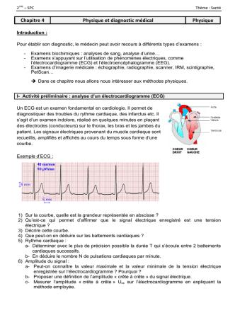 Chapitre 4 Physique et diagnostic médical Physique