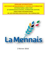2 février 2016 - Frères de l`instruction Chrétienne et Laïcs Mennaisiens