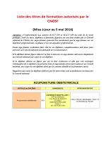 Liste des titres de formation autorisés par le CNOSF (Mise à jour au