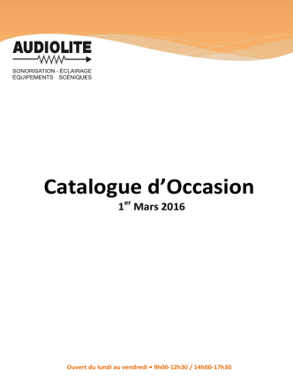 Catalogue OCCASION