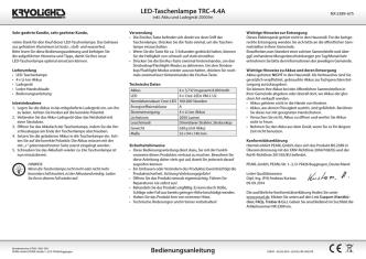 Bedienungsanleitung LED-Taschenlampe TRC-4.4A