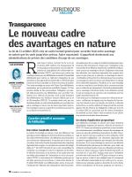 Le nouveau cadre des avantages en nature