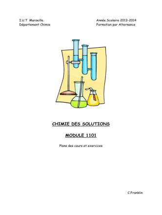 CHIMIE DES SOLUTIONS MODULE 1101