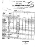 Liste de présence des étudiant 5o .00 oo - E