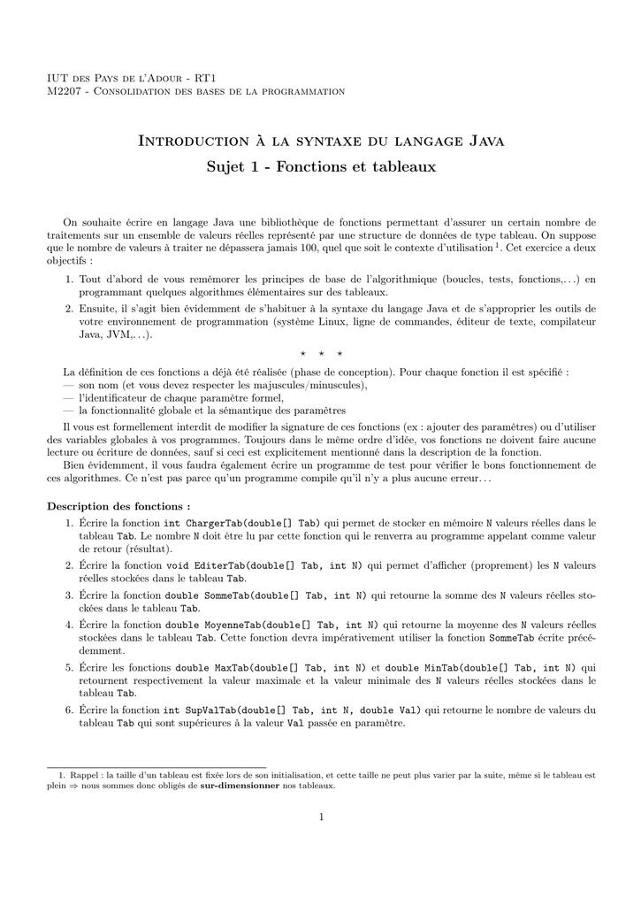 Introduction A La Syntaxe Du Langage Java Sujet 1