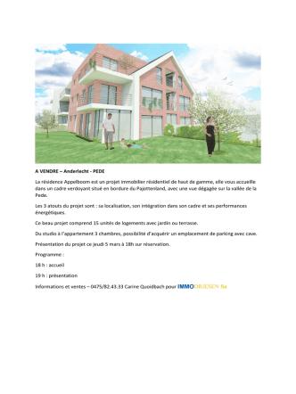 A VENDRE – Anderlecht - PEDE La résidence