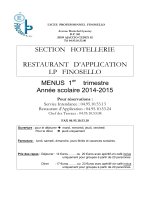 Prix des repas - LP Finosello