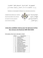 Listes des candidats retenus pour les épreuves écrites des concours