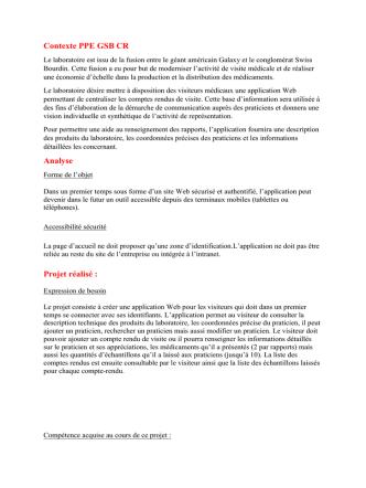 Contexte PPE GSB CR Analyse Projet réalisé :
