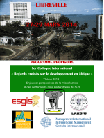 LIBREVILLE 27-29 MARS 2014 Ier Colloque International