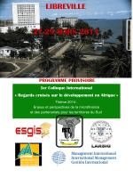 LIBREVILLE 27-29 MARS 2014 Ier Colloque International