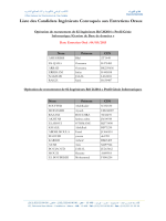 Liste des Candidats Ingénieurs Convoqués aux Entretiens