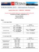 FORUM DESMA 2015 – Informations Pratiques