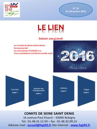 Bulletin football n°16 janvier 2016