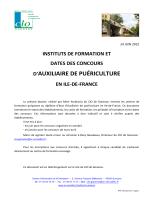 Dates des concours d`entrée en formation d`Auxiliaire de puériculture