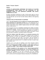 LETTER OF ASSOCIATIONS DEFENDING THE RIGHTS OF