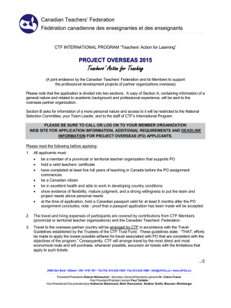 2015 Project Overseas Application (COOR-61)