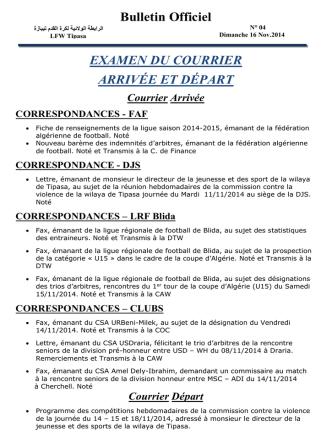 Bulletin Officiel EXAMEN DU COURRIER ARRIVÉE ET DÉPART