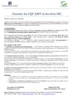 Dossier du CQP AMT et du titre IBC