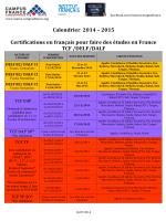 Calendrier final DELF DALF TCF 2014 2015
