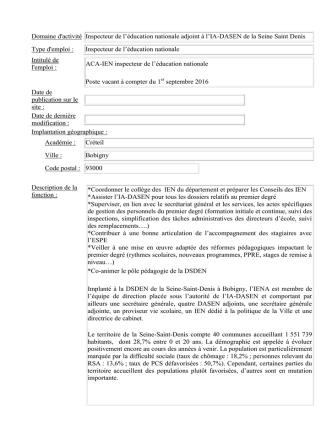 CRETEIL-BIEP Fiche Poste IEN A 93