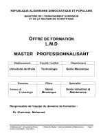 Génie industrielle et Maintenance - CRSIC Univ Msila