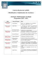 LaMOS Séminaire Mathématique de Béjaïa Programme 2014