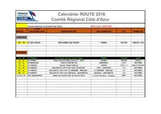 Calendrier ROUTE 2016 Comité Régional Côte d`Azur
