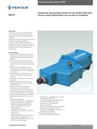 Biffi Pneumatic Actuators, Models RPD/RPS