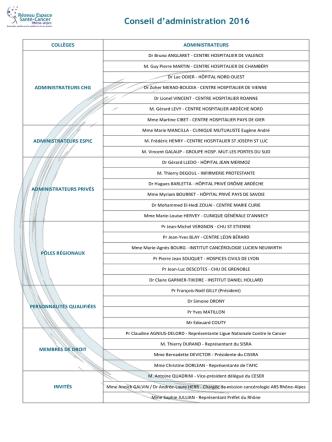 Conseil d`administration 2016 - Réseau Espace Santé Cancer