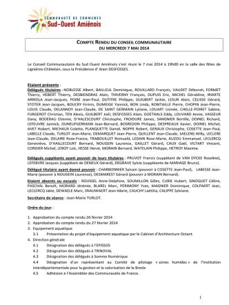 Compte rendu du Conseil Communautaire du 7 mai 2014