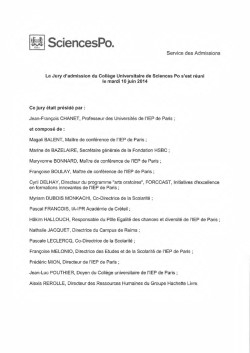 Sciences Po - Liste des admis 2014 par la procédure Convention
