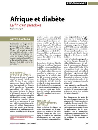 afrique et diabète - Cluster Santé Mali