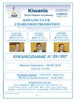 Dernier Kiwanigramme - Kiwanis Charleroi Promotion