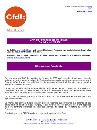 CAP de l`Inspection du Travail Du 14 avril 2015 Déclaration Préalable