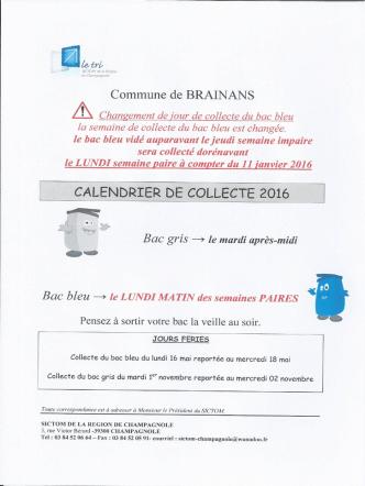Calendrier 2016 - Le village de Brainans
