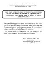 Liste nominative des candidats dont les dossiers n`ont pas été