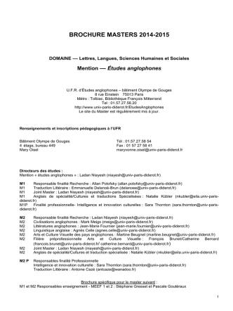 Brochure Master 2014/2015 - Université Paris Diderot