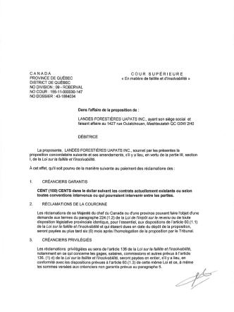 20 octobre 2014- proposition aux créanciers