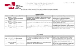 Consulter le planning - École nationale des chartes
