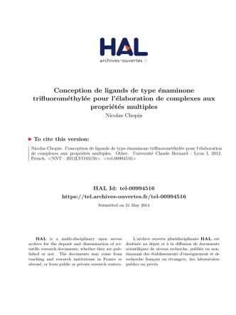 Conception de ligands de type énaminone - Tel
