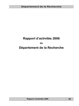 Département de la Recherche - Gouvernement du Grand