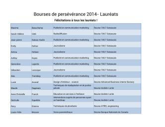 Bourses de persévérance 2014- Lauréats
