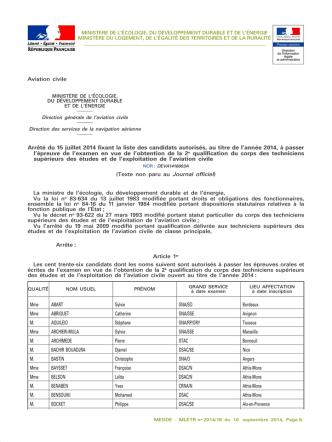 Arrêté du 15 juillet 2014 fixant la liste des candidats