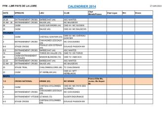 CALENDRIER 2014 - Ligue Motocycliste des Pays de la Loire
