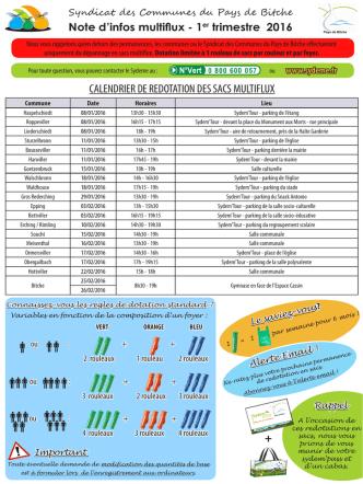 calendrier de redotation des sacs multiflux +