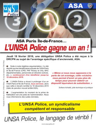 ASA Paris Île-de-France... L`UNSA Police gagne un an!