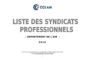 - DEPARTEMENT DE L`AIN - 2016 - Chambre de commerce et d