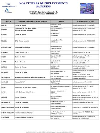 Centres de prélèvements - Le CHR Mons